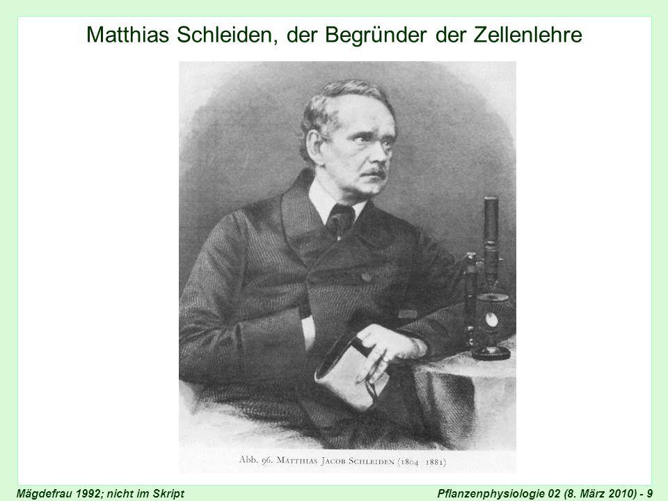 Pflanzenphysiologie 02 (8. März 2010) - 9 Matthias Schleiden Matthias Schleiden, der Begründer der Zellenlehre Mägdefrau 1992; nicht im Skript