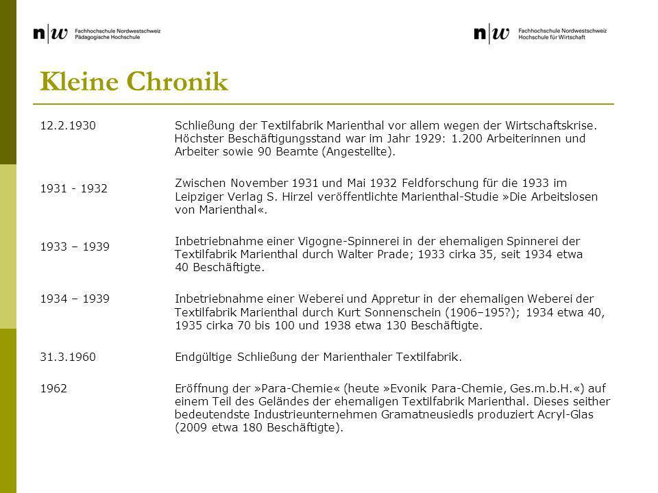 Kleine Chronik 12.2.1930 1931 - 1932 1933 – 1939 1934 – 1939 31.3.1960 1962 Schließung der Textilfabrik Marienthal vor allem wegen der Wirtschaftskrise.