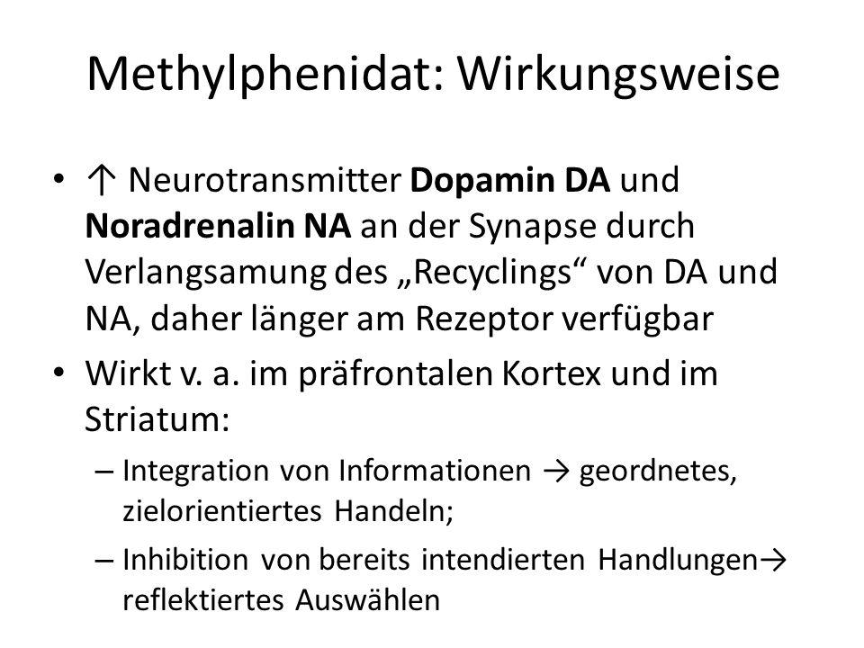 Methylphenidat: Wirkungsweise Neurotransmitter Dopamin DA und Noradrenalin NA an der Synapse durch Verlangsamung des Recyclings von DA und NA, daher l