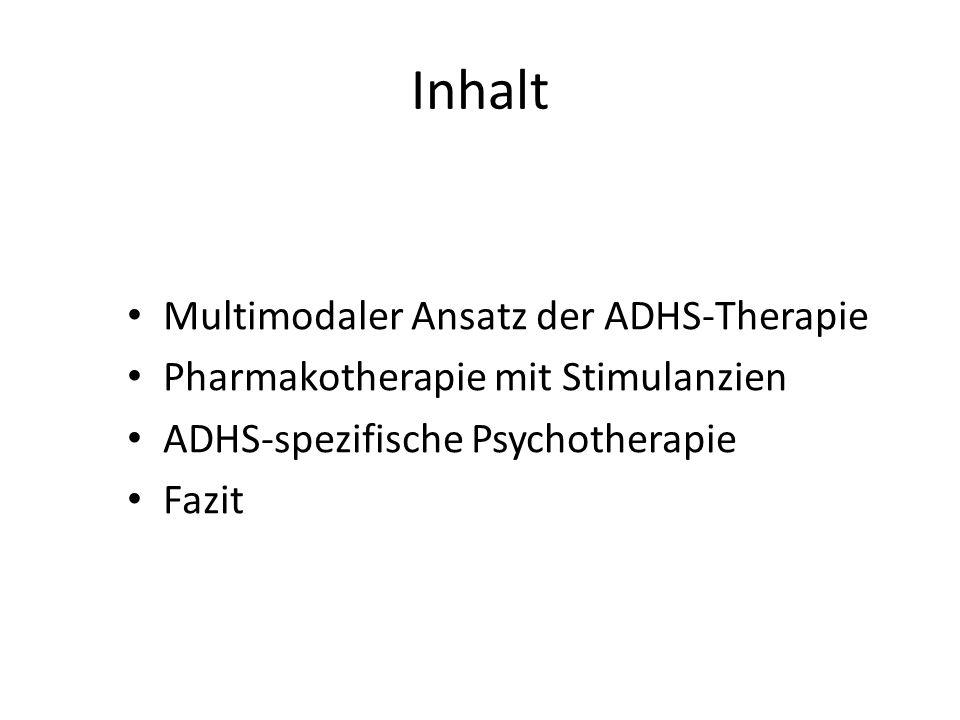 Inhalt Multimodaler Ansatz der ADHS-Therapie Pharmakotherapie mit Stimulanzien ADHS-spezifische Psychotherapie Fazit