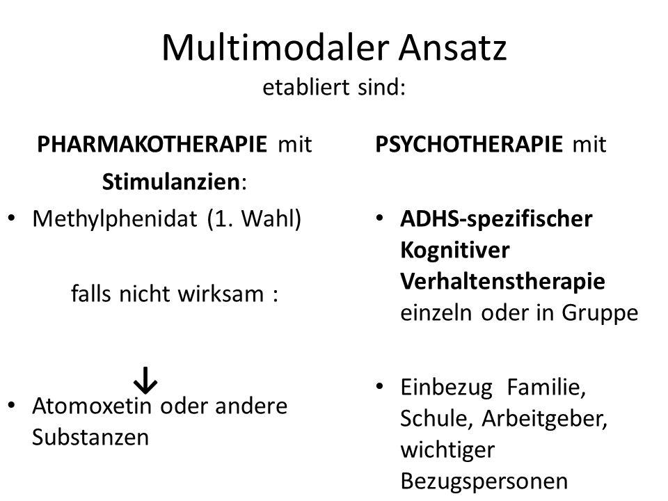 Multimodaler Ansatz etabliert sind: PHARMAKOTHERAPIE mit Stimulanzien: Methylphenidat (1. Wahl) falls nicht wirksam : Atomoxetin oder andere Substanze