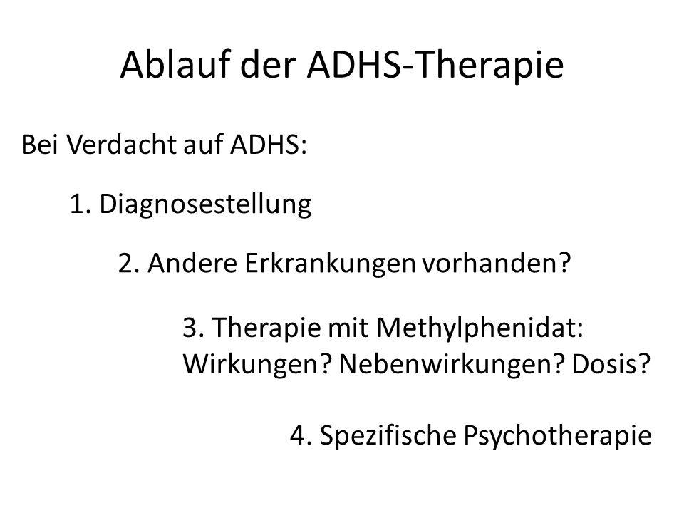 Ablauf der ADHS-Therapie Bei Verdacht auf ADHS: 1. Diagnosestellung 2. Andere Erkrankungen vorhanden? 3. Therapie mit Methylphenidat: Wirkungen? Neben