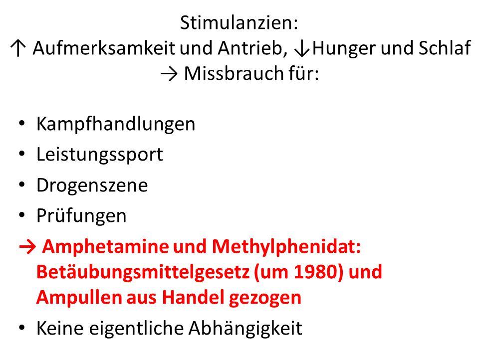 Stimulanzien: Aufmerksamkeit und Antrieb, Hunger und Schlaf Missbrauch für: Kampfhandlungen Leistungssport Drogenszene Prüfungen Amphetamine und Methy