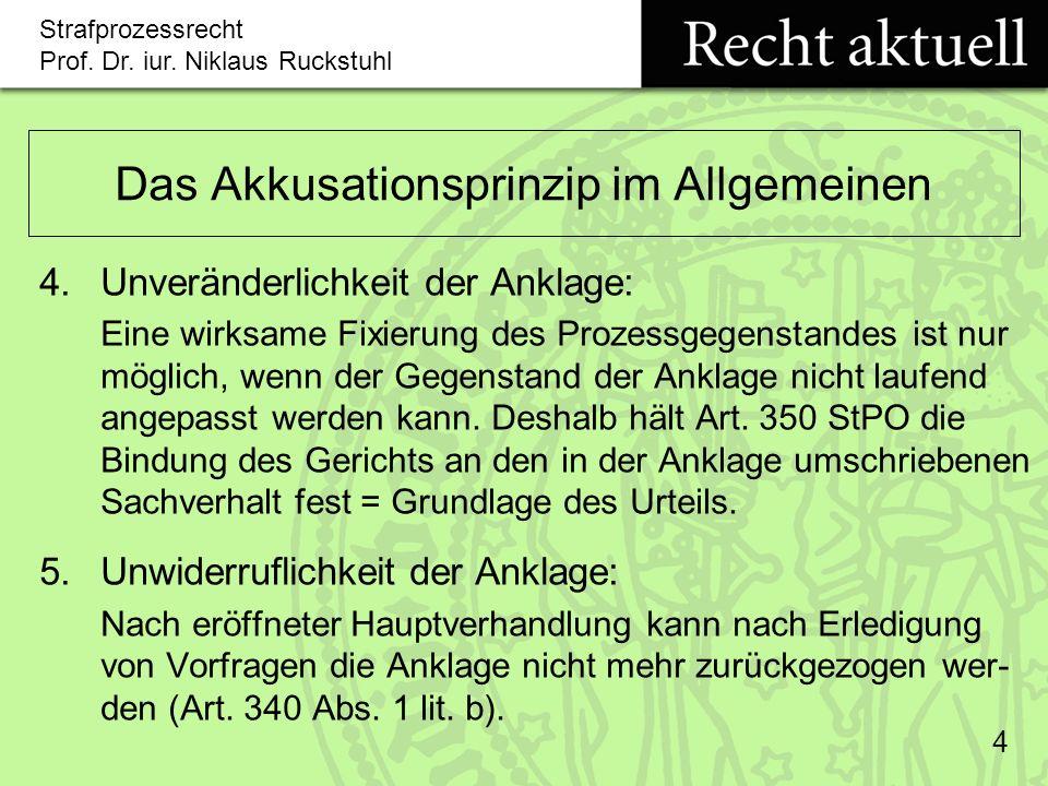 Strafprozessrecht Prof.Dr. iur. Niklaus Ruckstuhl 15 Änderung der Anklage (Art.