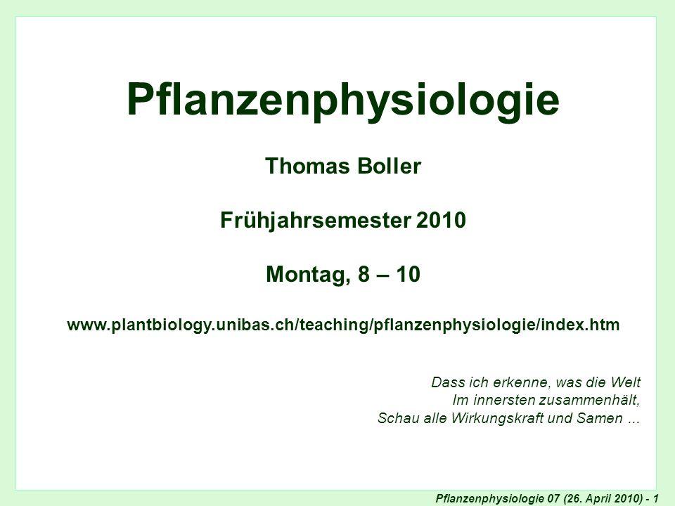 Pflanzenphysiologie 07 (26.April 2010) - 32 Experimentelle Bestimmung des Wirkungsspektrums z.B.