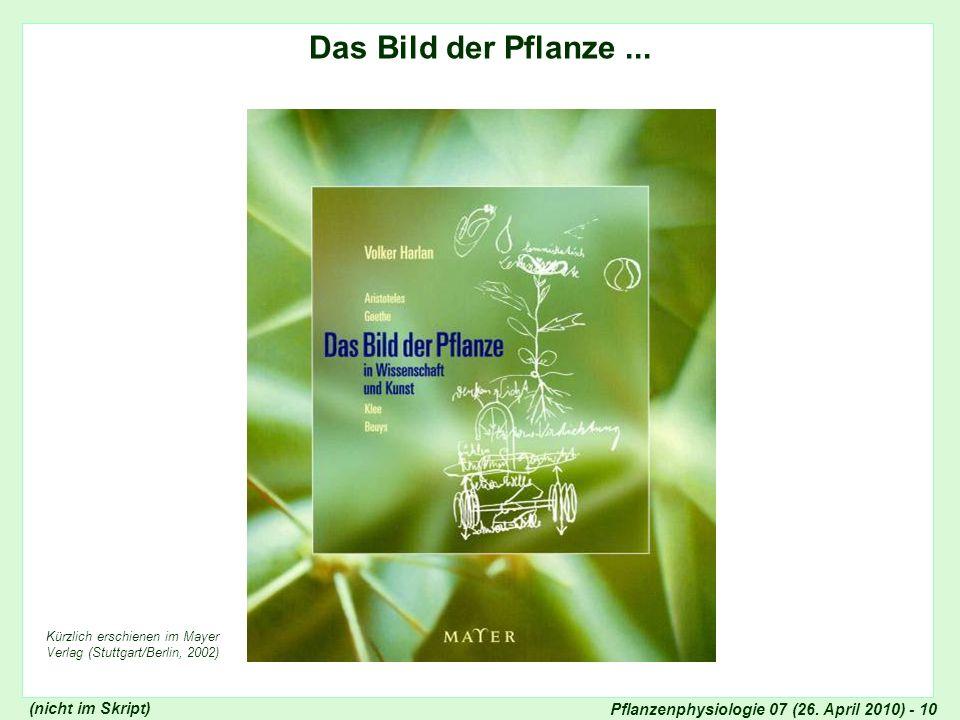 Pflanzenphysiologie 07 (26. April 2010) - 10 Das Bild der Pflanze... Kürzlich erschienen im Mayer Verlag (Stuttgart/Berlin, 2002) Bild der Pflanze in