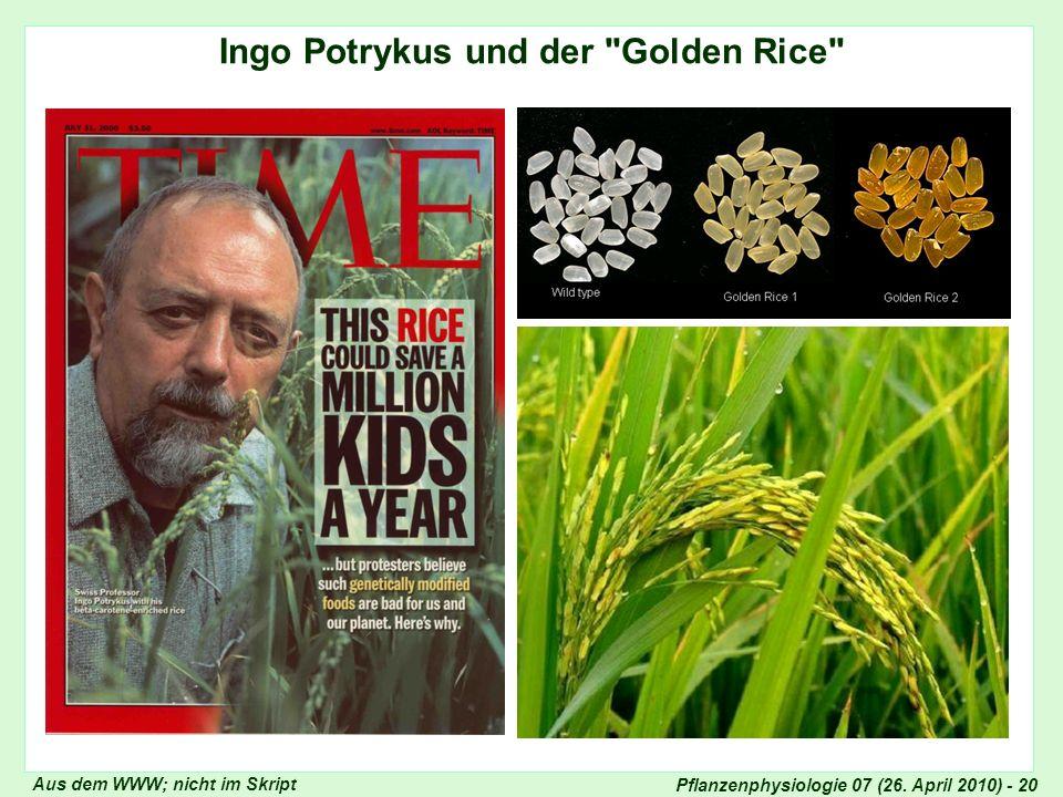 Pflanzenphysiologie 07 (26. April 2010) - 20 Ingo Potrykus und der