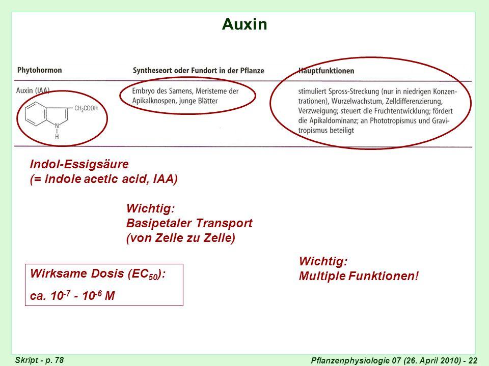 Pflanzenphysiologie 07 (26. April 2010) - 22 Auxin Totipotenz der Pflanzenzellen Skript - p. 78 Indol-Essigsäure (= indole acetic acid, IAA) Wichtig: