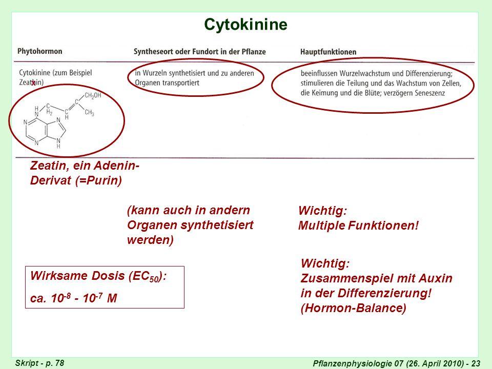 Pflanzenphysiologie 07 (26. April 2010) - 23 Cytokinine Totipotenz der Pflanzenzellen Skript - p. 78 Zeatin, ein Adenin- Derivat (=Purin) (kann auch i