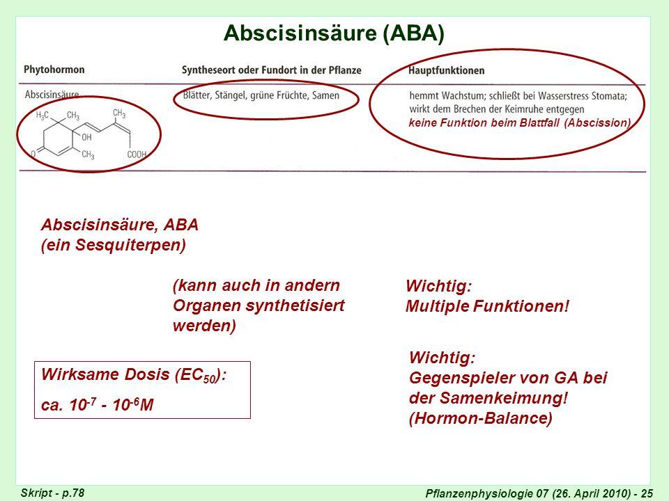 Pflanzenphysiologie 07 (26. April 2010) - 25 Abscisinsäure (ABA) Totipotenz der Pflanzenzellen Skript - p.78 Abscisinsäure, ABA (ein Sesquiterpen) (ka