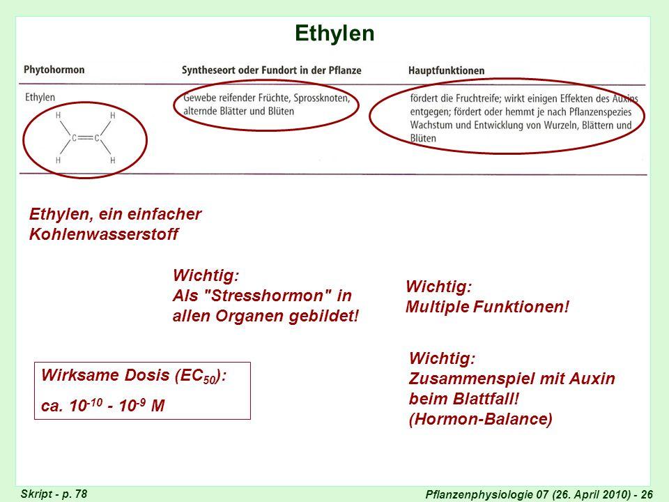 Pflanzenphysiologie 07 (26. April 2010) - 26 Ethylen Totipotenz der Pflanzenzellen Skript - p. 78 Ethylen, ein einfacher Kohlenwasserstoff Wichtig: Al
