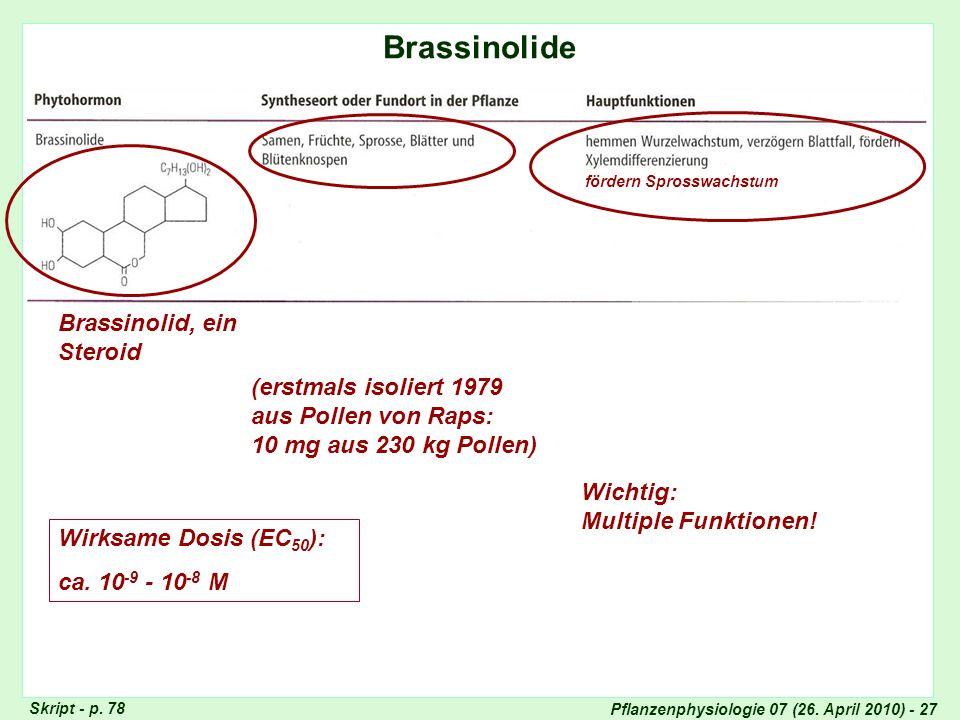 Pflanzenphysiologie 07 (26. April 2010) - 27 Brassinolide Totipotenz der Pflanzenzellen Skript - p. 78 Brassinolid, ein Steroid (erstmals isoliert 197
