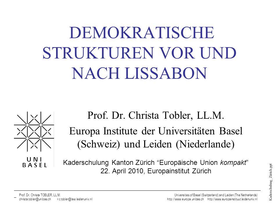 Kaderschulung_Zürich.ppt Prof. Dr. Christa TOBLER, LL.M., Universities of Basel (Switzerland) and Leiden (The Netherlands) DEMOKRATISCHE STRUKTUREN VO
