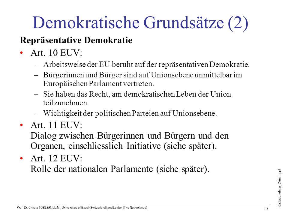 Kaderschulung_Zürich.ppt Prof. Dr. Christa TOBLER, LL.M., Universities of Basel (Switzerland) and Leiden (The Netherlands) 13 Demokratische Grundsätze
