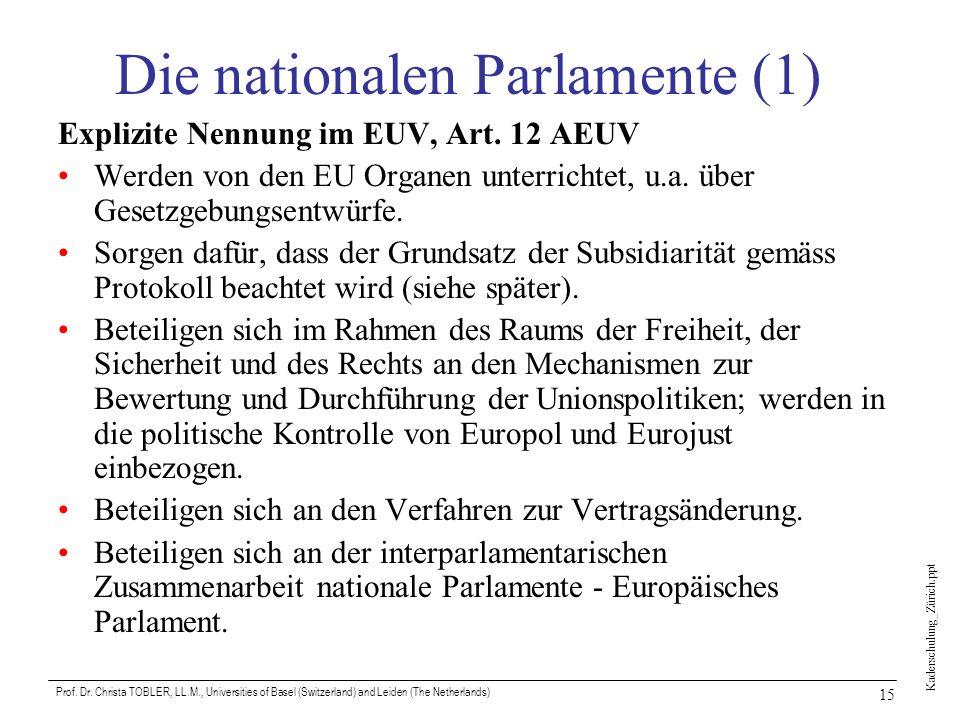 Kaderschulung_Zürich.ppt Prof. Dr. Christa TOBLER, LL.M., Universities of Basel (Switzerland) and Leiden (The Netherlands) 15 Die nationalen Parlament