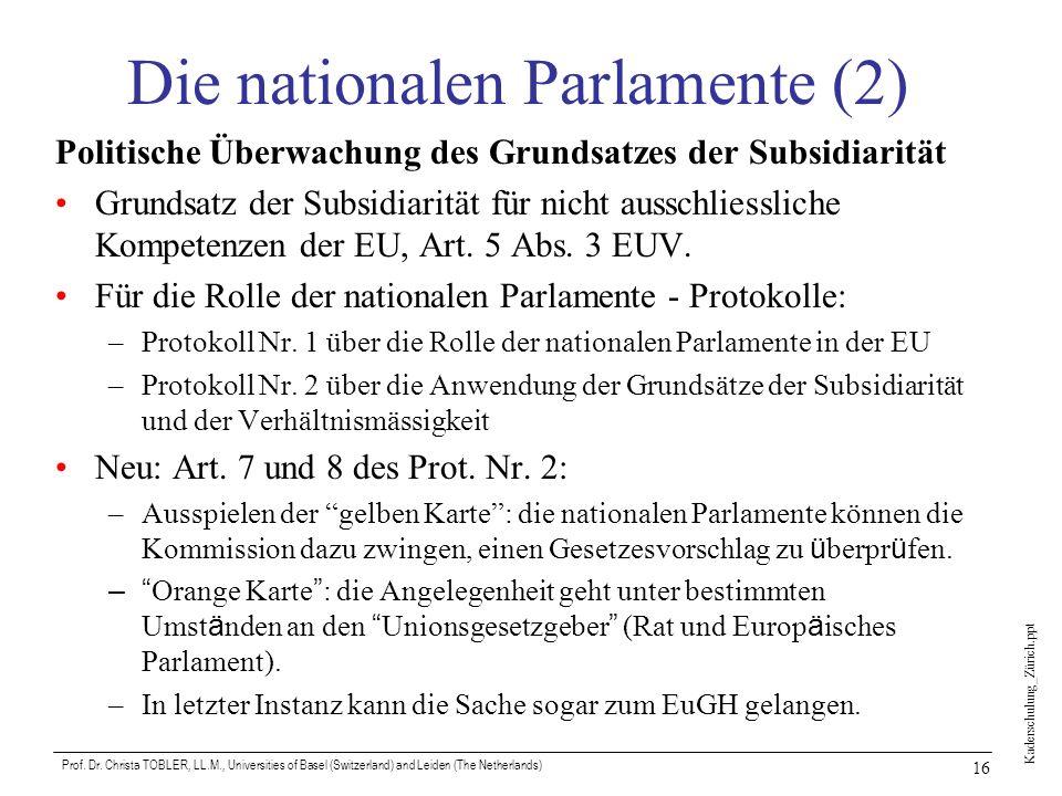 Kaderschulung_Zürich.ppt Prof. Dr. Christa TOBLER, LL.M., Universities of Basel (Switzerland) and Leiden (The Netherlands) 16 Die nationalen Parlament