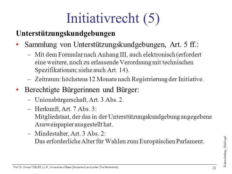 Kaderschulung_Zürich.ppt Prof. Dr. Christa TOBLER, LL.M., Universities of Basel (Switzerland) and Leiden (The Netherlands) 21 Initiativrecht (5) Unter