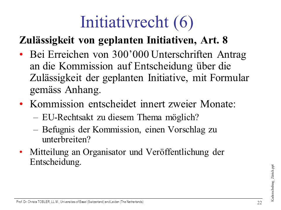 Kaderschulung_Zürich.ppt Prof. Dr. Christa TOBLER, LL.M., Universities of Basel (Switzerland) and Leiden (The Netherlands) 22 Initiativrecht (6) Zuläs