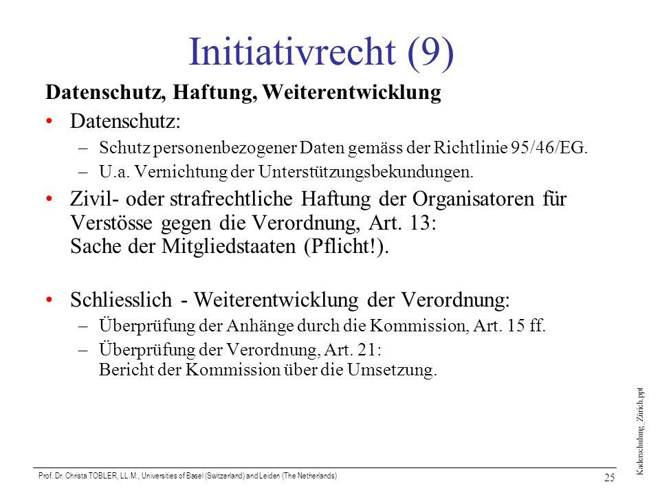 Kaderschulung_Zürich.ppt Prof. Dr. Christa TOBLER, LL.M., Universities of Basel (Switzerland) and Leiden (The Netherlands) 25 Initiativrecht (9) Daten