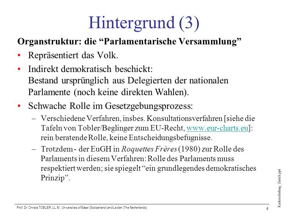 Kaderschulung_Zürich.ppt Prof. Dr. Christa TOBLER, LL.M., Universities of Basel (Switzerland) and Leiden (The Netherlands) 4 Hintergrund (3) Organstru