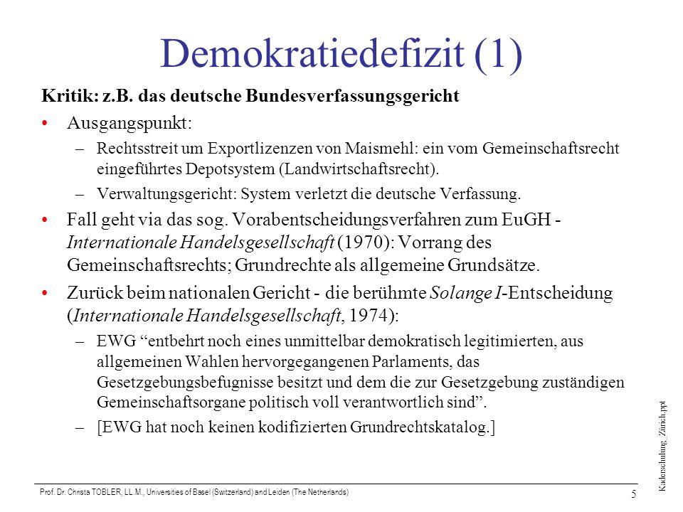 Kaderschulung_Zürich.ppt Prof. Dr. Christa TOBLER, LL.M., Universities of Basel (Switzerland) and Leiden (The Netherlands) 5 Demokratiedefizit (1) Kri