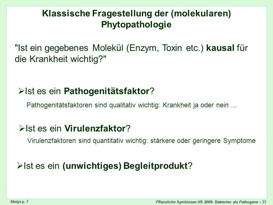 Pflanzliche Symbiosen HS 2009: Bakterien als Pathogene - 33 Klassische Fragestellung der (molekularen) Phytopathologie Pathogenitätsfaktor/ Virulenzfa