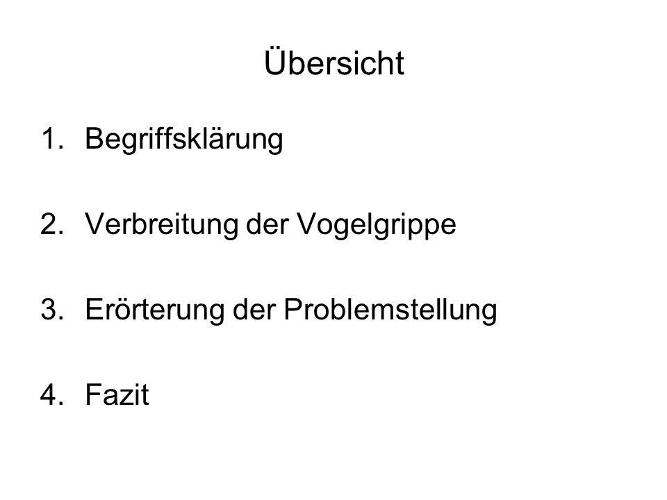 Übersicht 1.Begriffsklärung 2.Verbreitung der Vogelgrippe 3.Erörterung der Problemstellung 4.Fazit