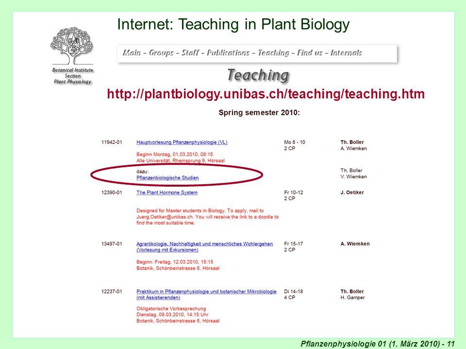 Pflanzenphysiologie 01 (1. März 2010) - 11 Internet: Teaching Internet: Teaching in Plant Biology http://plantbiology.unibas.ch/teaching/teaching.htm