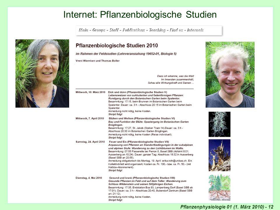 Pflanzenphysiologie 01 (1. März 2010) - 12 Internet: Pflanzenbiologische Studien
