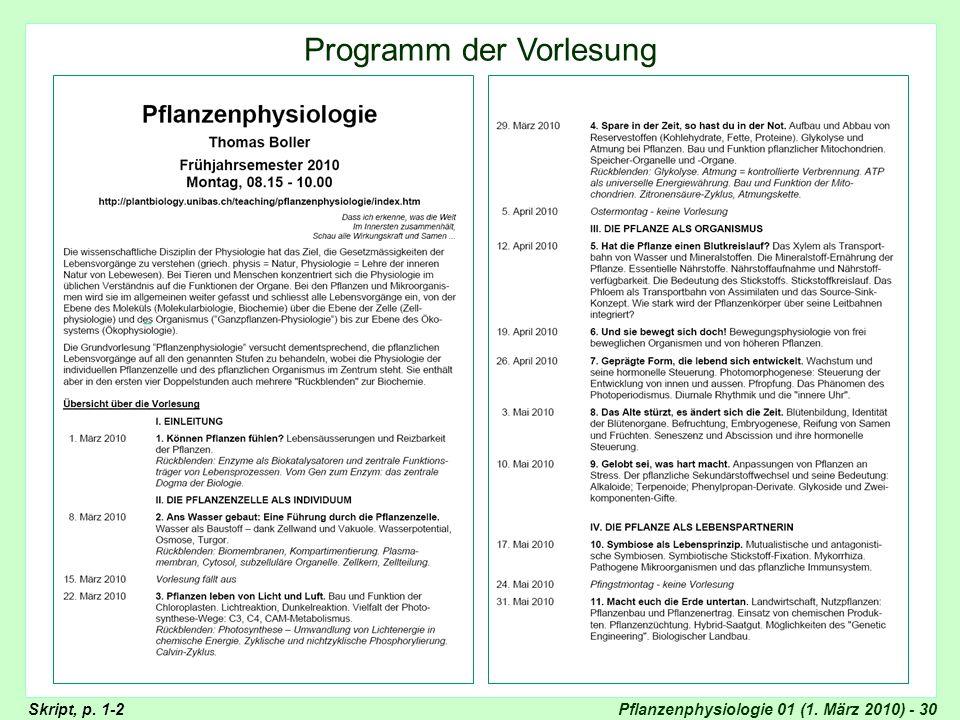 Pflanzenphysiologie 01 (1. März 2010) - 30 Titelseiten Skript Skript, p. 1-2 Programm der Vorlesung