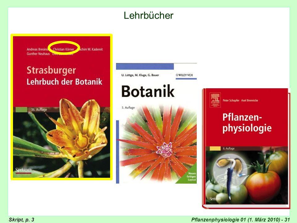Pflanzenphysiologie 01 (1. März 2010) - 31 Lehrbücher (Strasburger, Lüttge, Nultsch) Lehrbücher Skript, p. 3