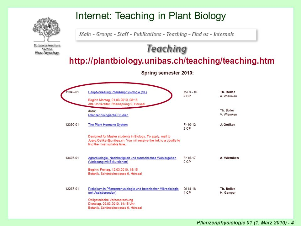 Pflanzenphysiologie 01 (1. März 2010) - 4 Internet: Teaching Internet: Teaching in Plant Biology http://plantbiology.unibas.ch/teaching/teaching.htm