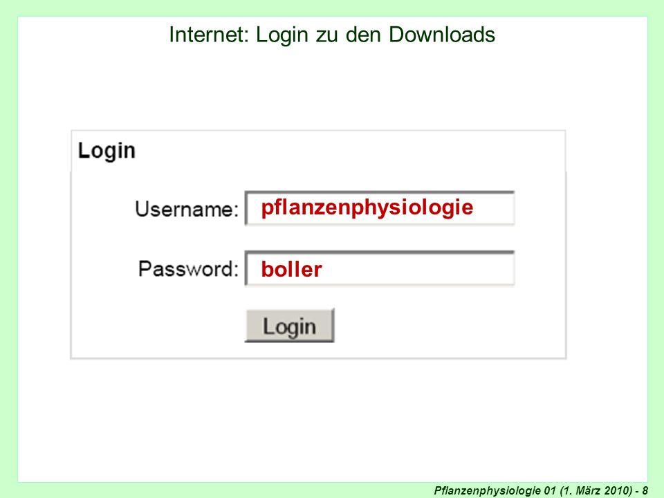 Pflanzenphysiologie 01 (1. März 2010) - 8 Internet: Login zu den Downloads pflanzenphysiologie boller