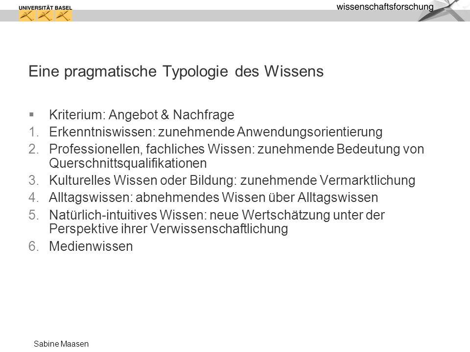 Sabine Maasen Eine pragmatische Typologie des Wissens Kriterium: Angebot & Nachfrage Erkenntniswissen: zunehmende Anwendungsorientierung Professionell