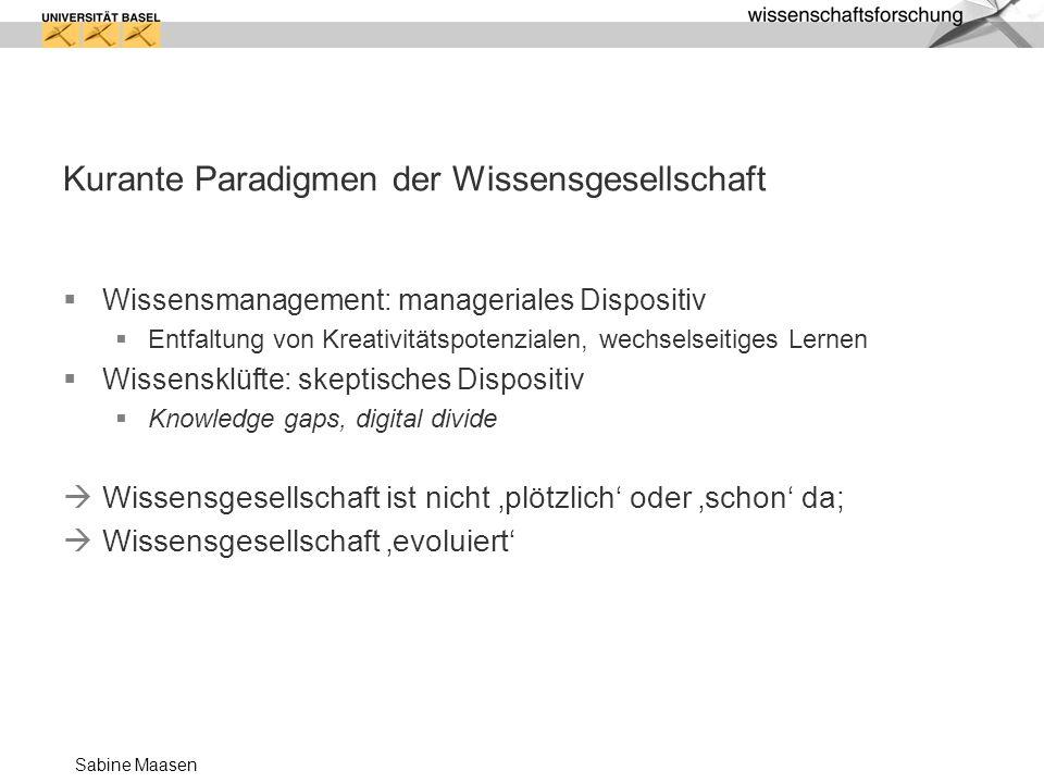 Sabine Maasen Kurante Paradigmen der Wissensgesellschaft Wissensmanagement: manageriales Dispositiv Entfaltung von Kreativitätspotenzialen, wechselsei