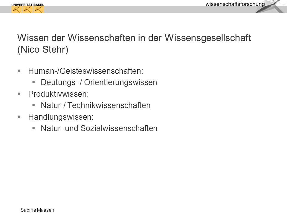 Sabine Maasen Wissen der Wissenschaften in der Wissensgesellschaft (Nico Stehr) Human-/Geisteswissenschaften: Deutungs- / Orientierungswissen Produkti