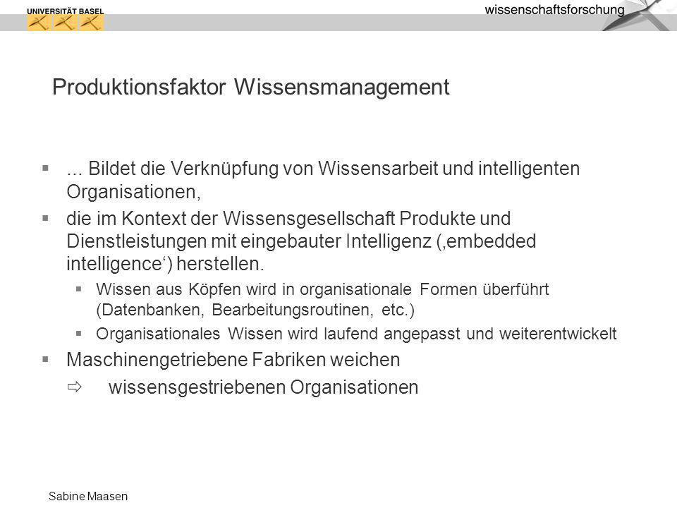 Sabine Maasen Produktionsfaktor Wissensmanagement... Bildet die Verknüpfung von Wissensarbeit und intelligenten Organisationen, die im Kontext der Wis