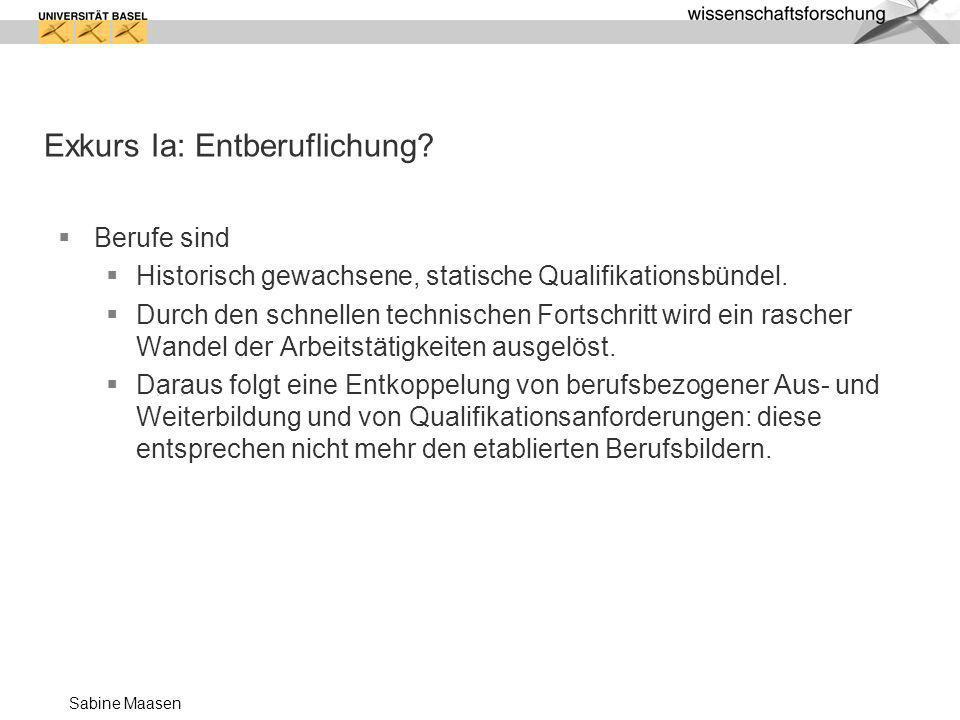Sabine Maasen Exkurs Ib: wesentliche Charakteristika der Entberuflichung Vermarktlichung von Arbeitsbeziehungen Das betriebliche Ideal der Just-in-time-Beschäftigung wird als Deregulierung bislang fester Arbeitsverhältnisse umgesetzt.