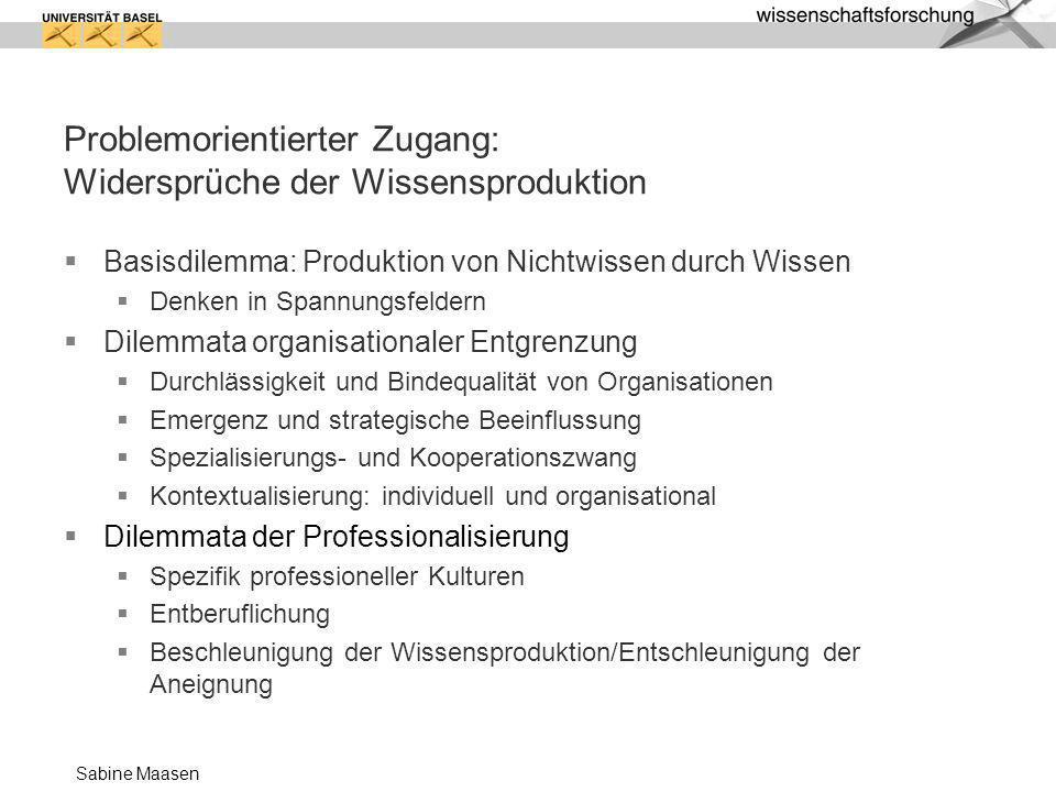 Sabine Maasen Problemorientierter Zugang: Widersprüche der Wissensproduktion Basisdilemma: Produktion von Nichtwissen durch Wissen Denken in Spannungs