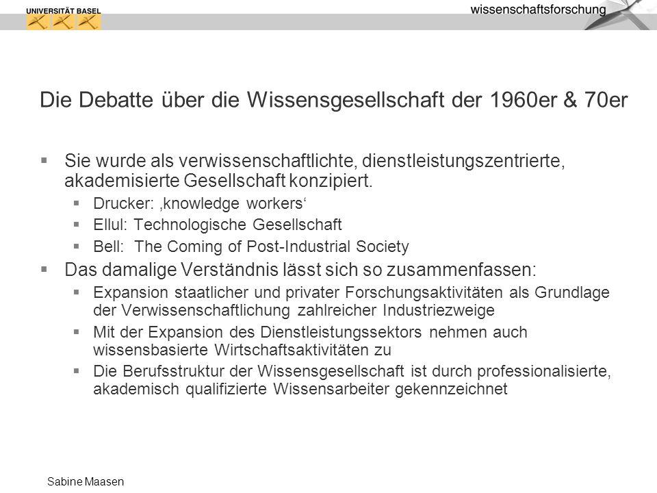 Sabine Maasen Aktuelle Positionen (Übersicht S.