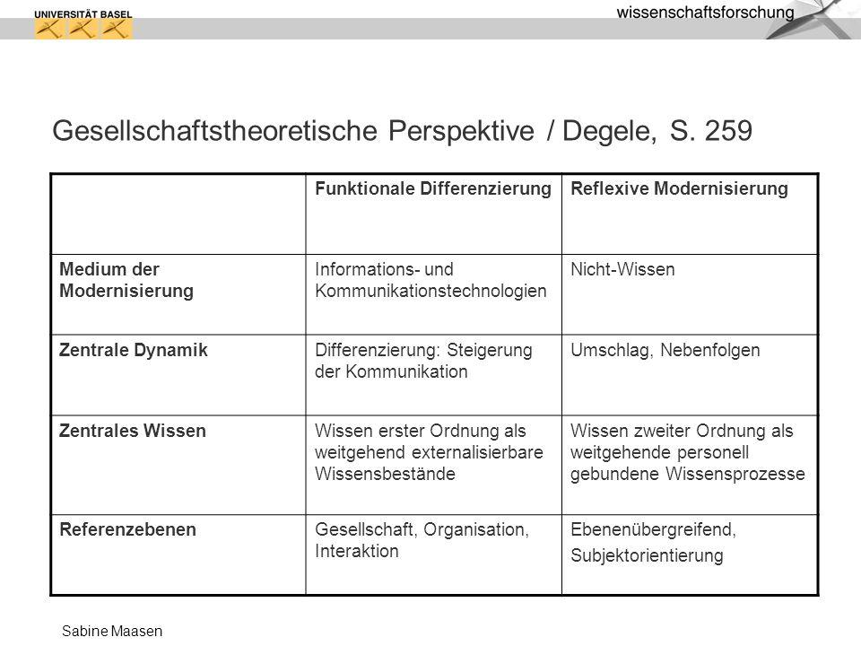 Sabine Maasen Gesellschaftstheoretische Perspektive / Degele, S. 259 Funktionale DifferenzierungReflexive Modernisierung Medium der Modernisierung Inf