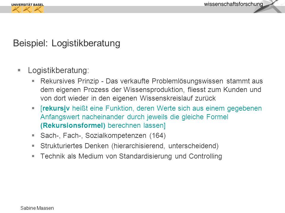 Sabine Maasen Beispiel: Logistikberatung Logistikberatung: Rekursives Prinzip - Das verkaufte Problemlösungswissen stammt aus dem eigenen Prozess der