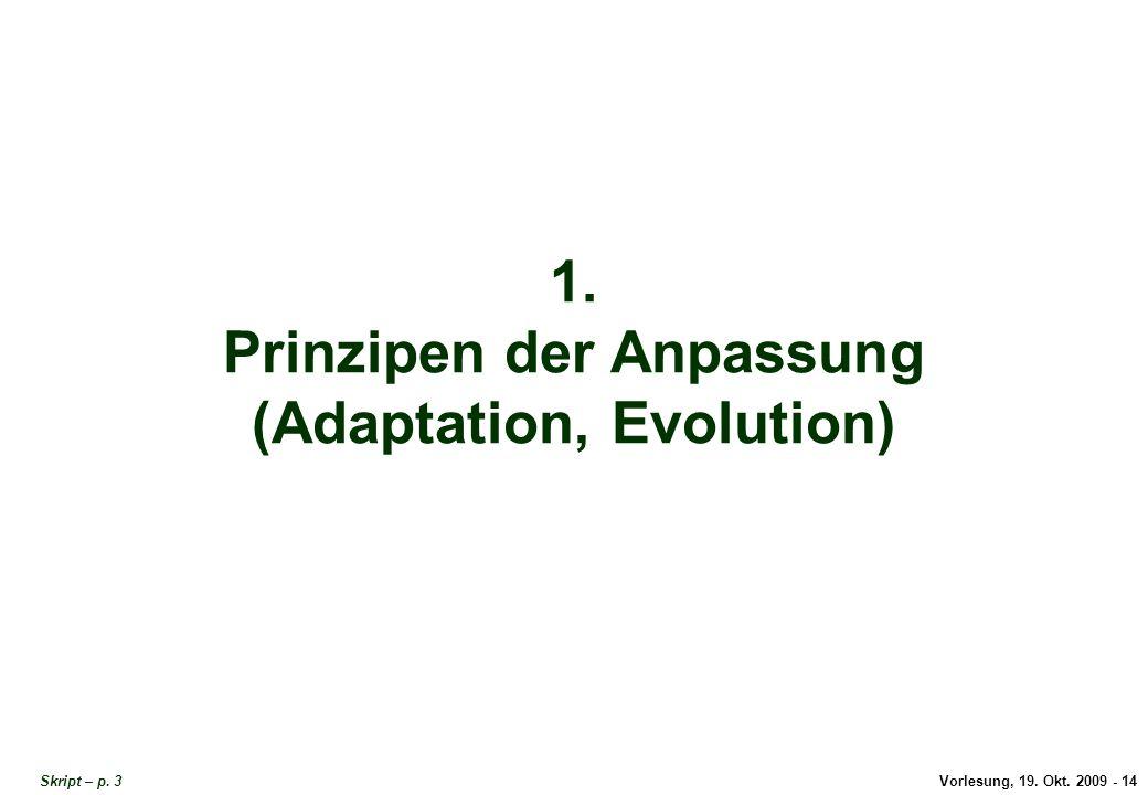 Vorlesung, 19.Okt. 2009 - 14 1. Prinzipen der Anpassung (Adaptation, Evolution) Skript – p.