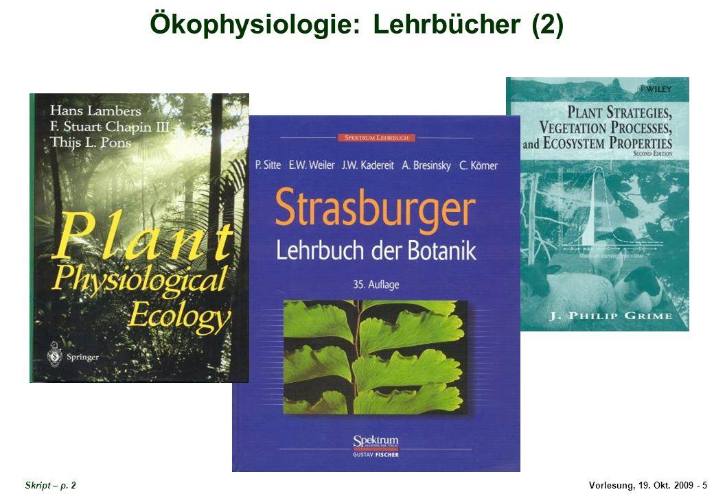 Vorlesung, 19.Okt. 2009 - 5 Ökophysiologie: Lehrbücher (2) Skript – p.