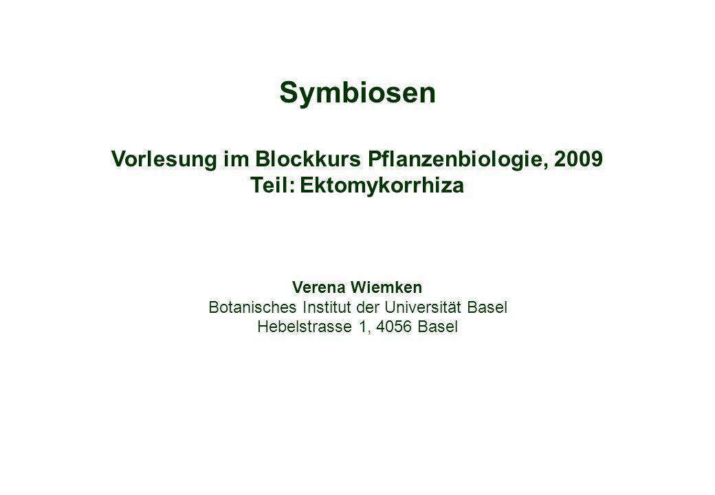 Symbiosen Vorlesung im Blockkurs Pflanzenbiologie, 2009 Teil: Ektomykorrhiza Verena Wiemken Botanisches Institut der Universität Basel Hebelstrasse 1,
