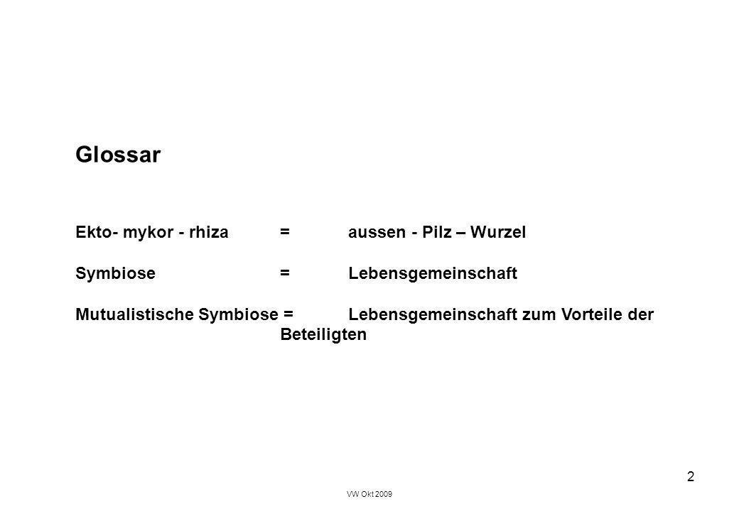 VW Okt 2009 2 Glossar Ekto- mykor - rhiza = aussen - Pilz – Wurzel Symbiose = Lebensgemeinschaft Mutualistische Symbiose = Lebensgemeinschaft zum Vort