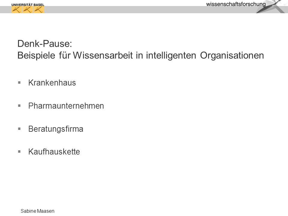 Sabine Maasen Denk-Pause: Beispiele für Wissensarbeit in intelligenten Organisationen Krankenhaus Pharmaunternehmen Beratungsfirma Kaufhauskette
