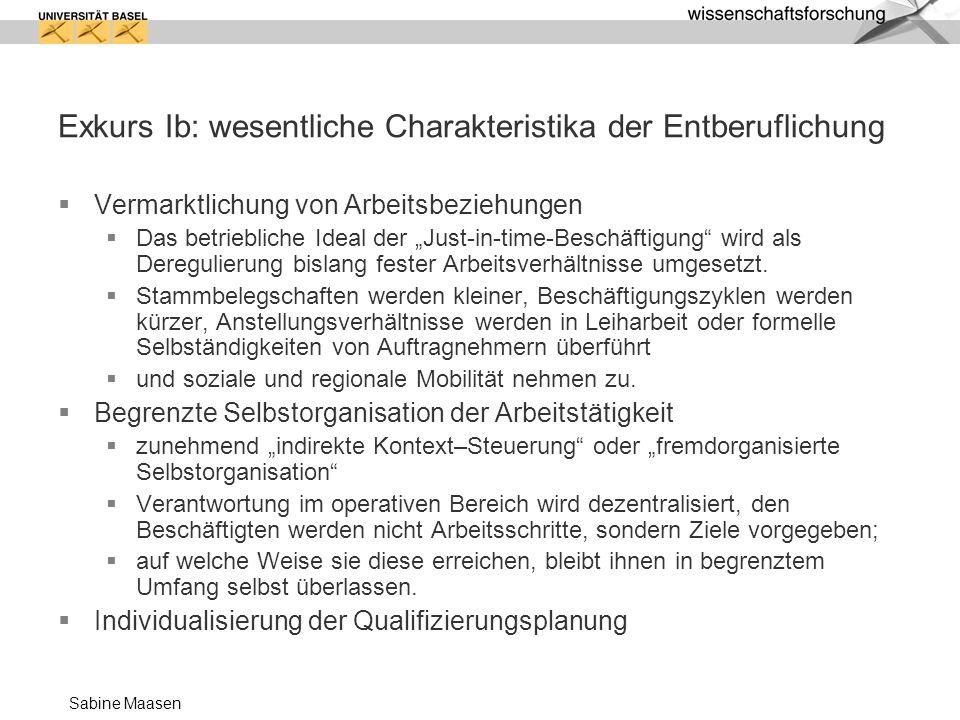Sabine Maasen Exkurs Ib: wesentliche Charakteristika der Entberuflichung Vermarktlichung von Arbeitsbeziehungen Das betriebliche Ideal der Just-in-tim