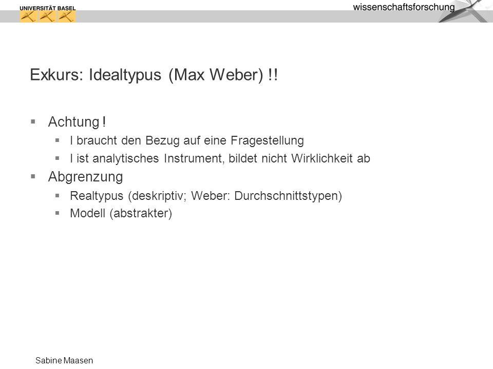 Sabine Maasen Exkurs: Idealtypus (Max Weber) !.Achtung .