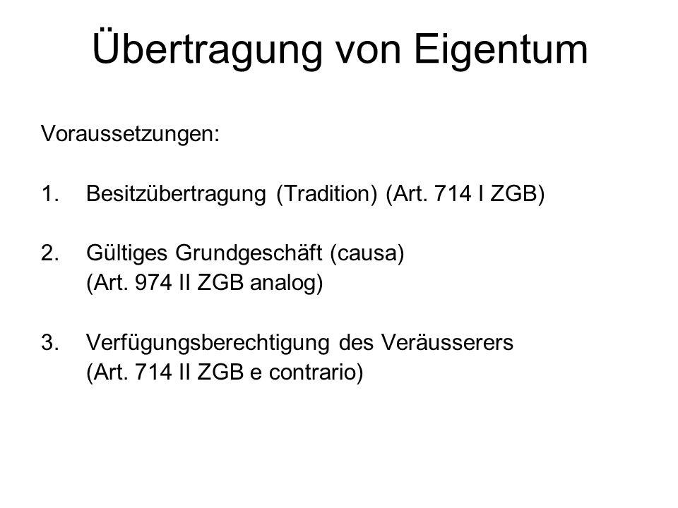 Übertragung von Eigentum Voraussetzungen: 1.Besitzübertragung (Tradition) (Art. 714 I ZGB) 2.Gültiges Grundgeschäft (causa) (Art. 974 II ZGB analog) 3